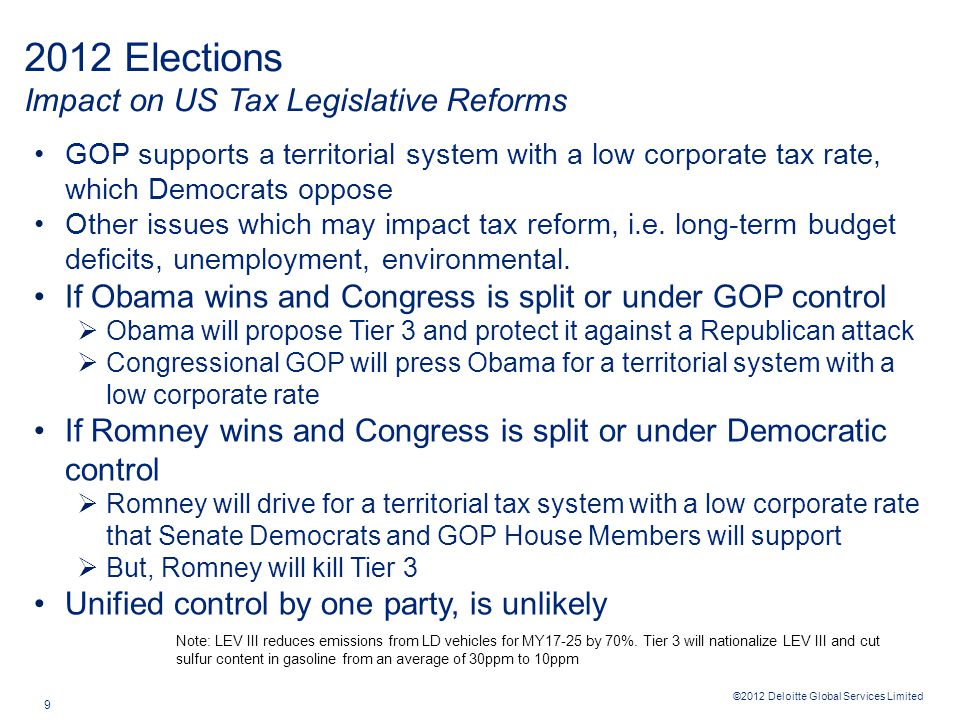 ©2012 Deloitte Global Services Limited 9 GOP supports a territorial system with a low corporate tax rate, which Democrats oppose Other issues which may impact tax reform, i.e.