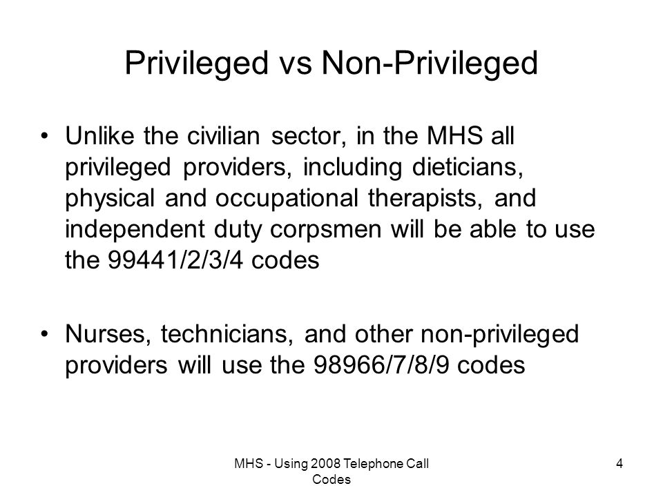 MHS - Using 2008 Telephone Call Codes 35 Telephone Consult Coding by Provider – Cont'd ADM Patient Encounter PATIENT,NAME TWO 20/##1-##-#### AGE:38y  Appt Date/Time : 11 Dec 2007@1209 Type: T-CON Status: TEL-CON Clinic: PRIMARY CARE CLINIC - FO MEPRS: BGAA Injury/Accident Related: No In/Outpatient: Outpatient APV: No Pregnancy Related: No Appt Provider: PROVIDER,1NAME L Appt Prov Taxonomy: 207P00000X Appt HCP Role: 1 ATTENDING Additional Providers: No Disposition: ========================================================================== ICD-9 Dx Description Priority -------------------------------------------------------------------------- 708.0 ALLERGIC URTICARIA 1 -------------------------------------------------------------------------- Chief Complaint: 708.0 ALLERGIC URTICARIA  Edit Icd-9 e&M Cpt/hcpcs Admin Code File View maiL cUo eXit Enter/edit CPT or HCPCS codes