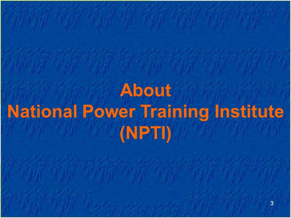 3 About National Power Training Institute (NPTI)
