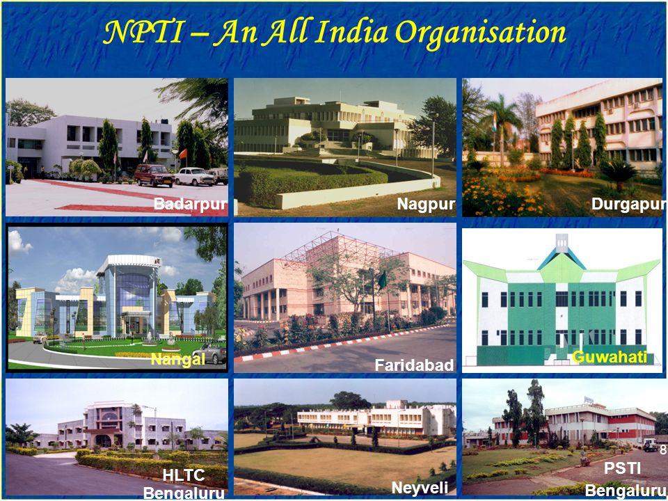 NPTI – An All India Organisation ISO 9001 : 2000 BadarpurNagpurDurgapur Faridabad Neyveli HLTC Bengaluru Nangal Guwahati PSTI Bengaluru 8