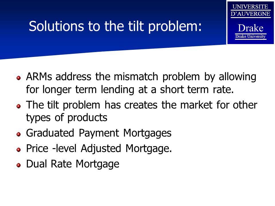 UNIVERSITE D'AUVERGNE Drake Drake University Solutions to the tilt problem: ARMs address the mismatch problem by allowing for longer term lending at a