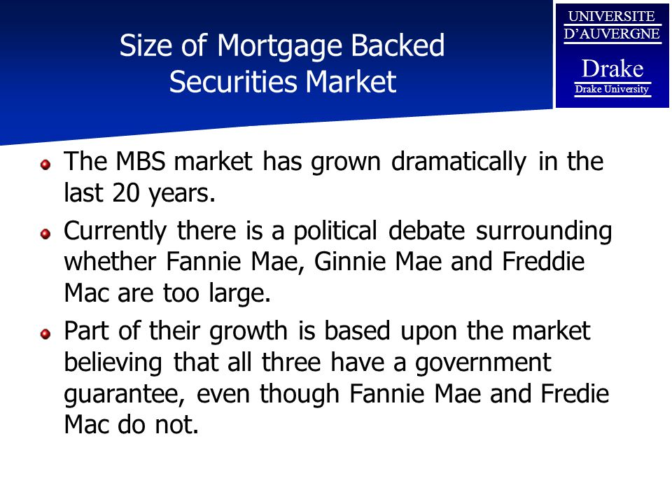 UNIVERSITE D'AUVERGNE Drake Drake University Size of Mortgage Backed Securities Market The MBS market has grown dramatically in the last 20 years. Cur