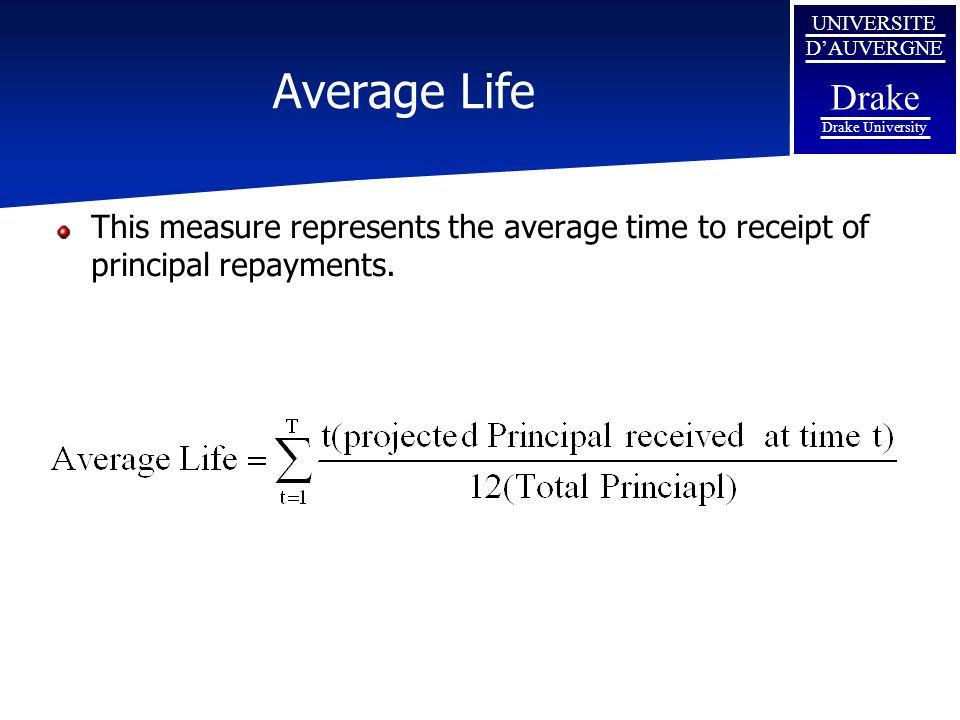 UNIVERSITE D'AUVERGNE Drake Drake University Average Life This measure represents the average time to receipt of principal repayments.