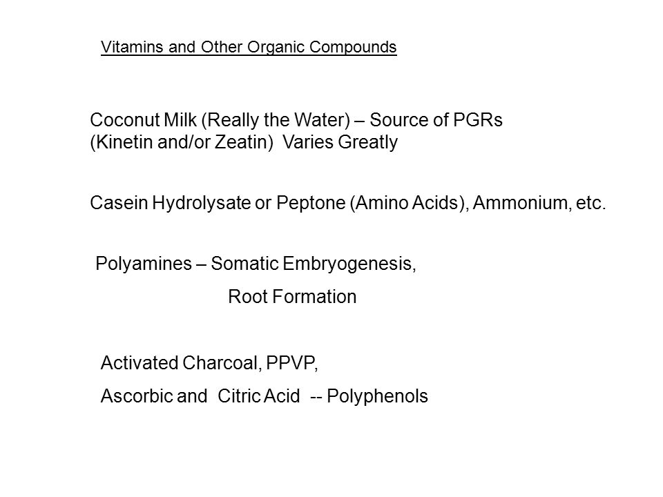 Vitamins and Other Organic Compounds Vitamins usually added to medium at 0.2-1.0 mg/L Vitamin B1 or Thiamine is considered essential -- Carbohydrates
