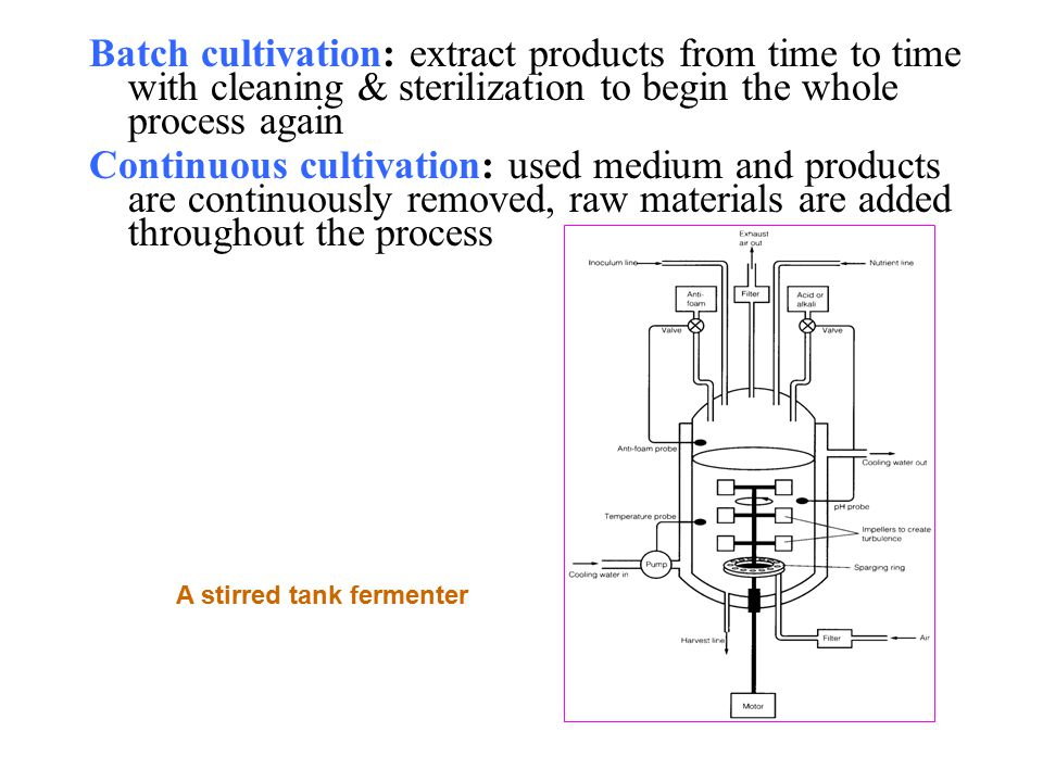 Batch cultivation: extract products from time to time with cleaning & sterilization to begin the whole process again Continuous cultivation: used medium and products are continuously removed, raw materials are added throughout the process A stirred tank fermenter