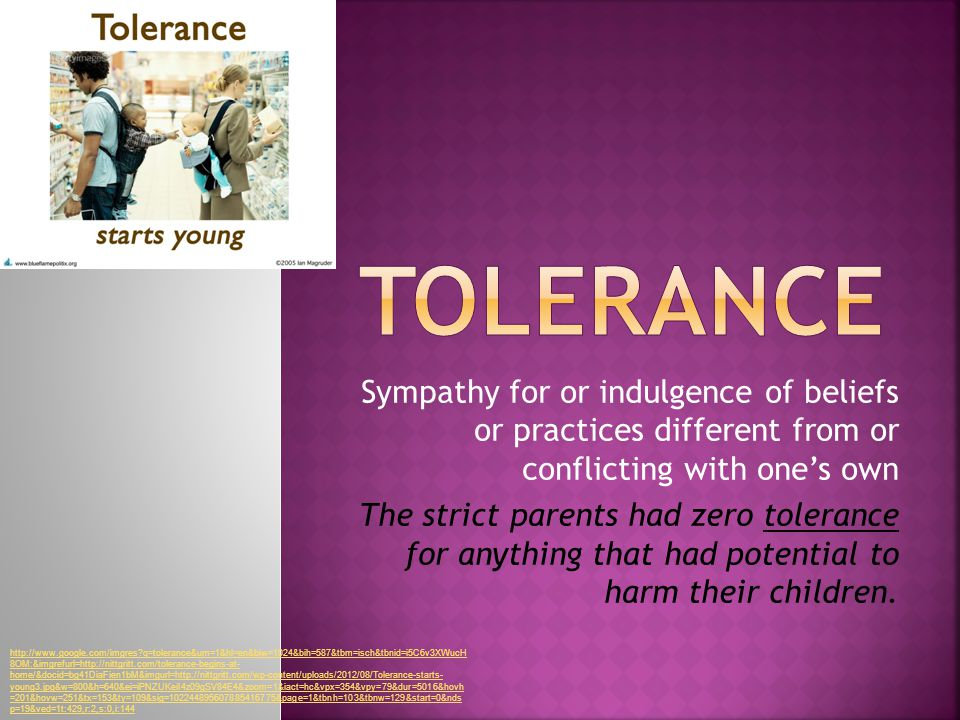 Sympathy for or indulgence of beliefs or practices different from or conflicting with one's own The strict parents had zero tolerance for anything that had potential to harm their children.