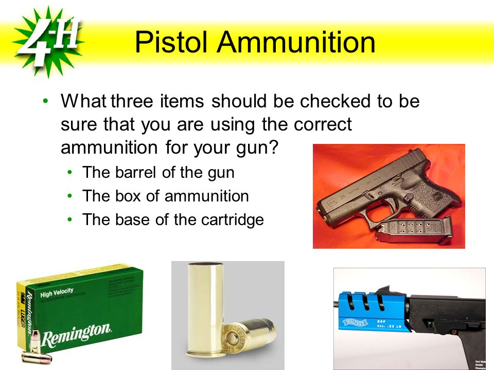 Pistol Ammunition Rimfire and Center- fire cartridges Rimfire cartridge Primer is contained in the inside rim of the case's base Center-fire cartridge