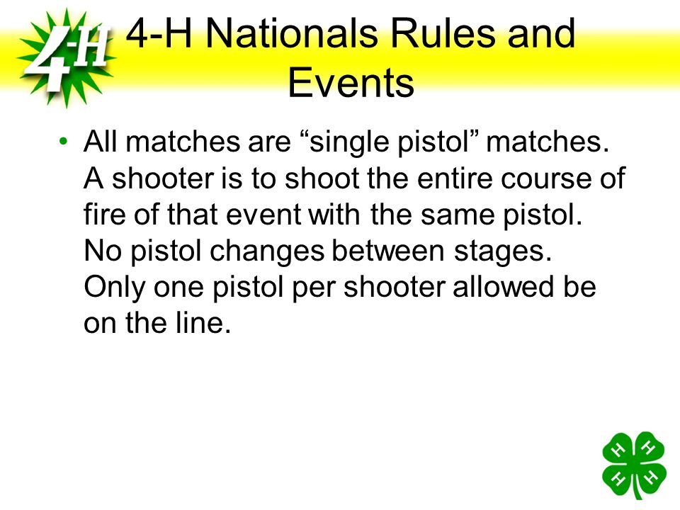 PISTOL MATCH EVENTS Slow Fire Air.22 Timed /Rapid Fire Air Camp Perry Silhouette Air.22 International Competitions