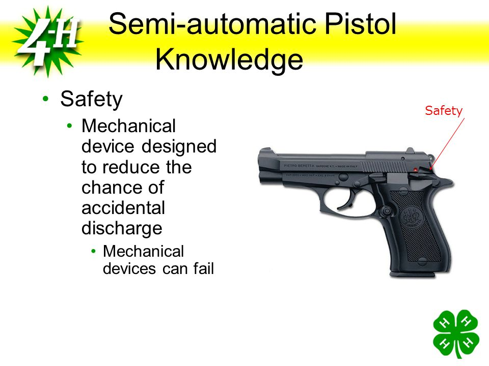 Handgun Knowledge Grip Panels Wood, Plastic, Rubber Attached to lower portion of the frame Trigger Guard Protects the trigger to prevent accidental fi