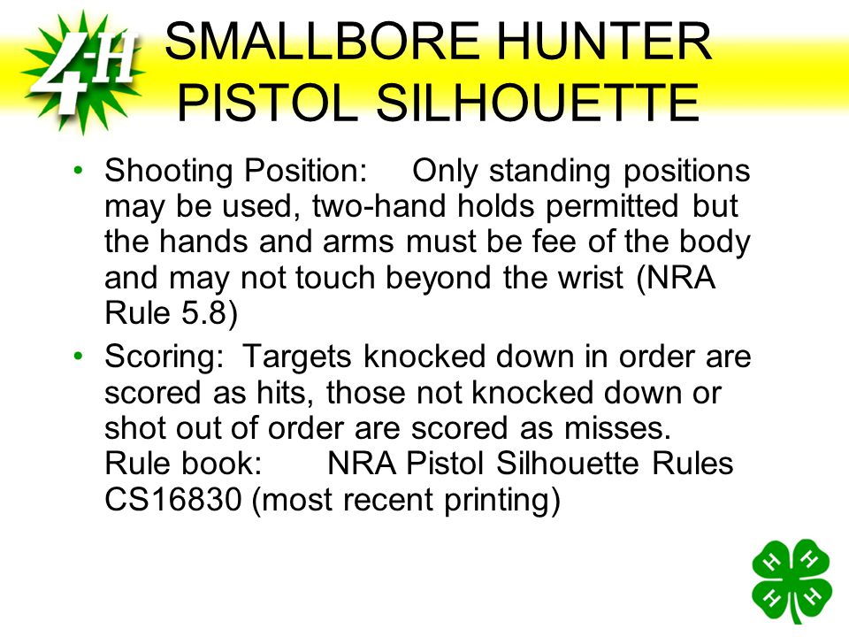 SMALLBORE HUNTER PISTOL SILHOUETTE Time Limit:30 second ready time and 2 minute firing time for each bank of 5 targets Equipment: Any factory availabl