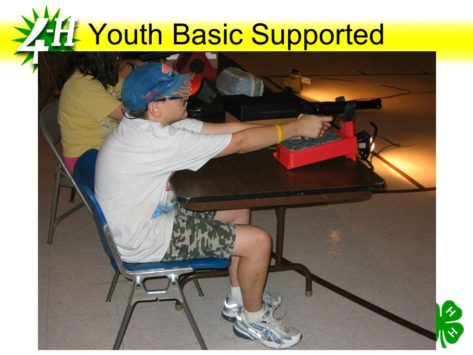 Youth Basic Supported Shooting arm must be fully extended, with the sights at eye level. The non-firing hand may provide support for the firing hand o