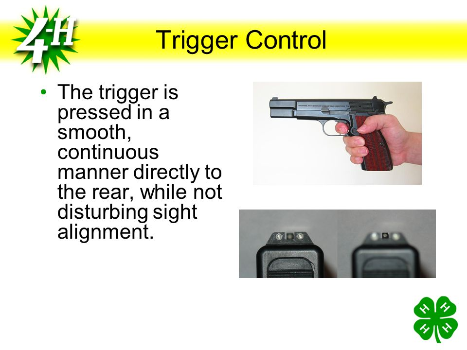 Trigger Control What is the function of the trigger? When pressed, the trigger activates the hammer and fires the gun. The index finger is placed with