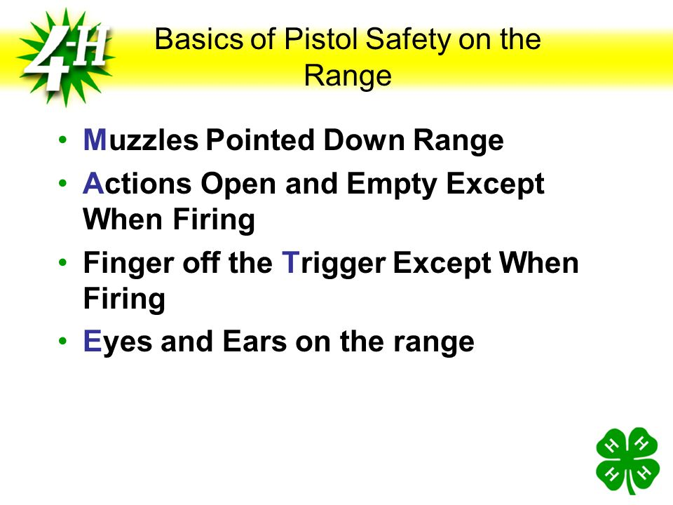 Introduction to Shooting Range Basic Range Procedures Range Officer in Charge at All Times In Charge of Calling commands, Safety, and enforcement of r