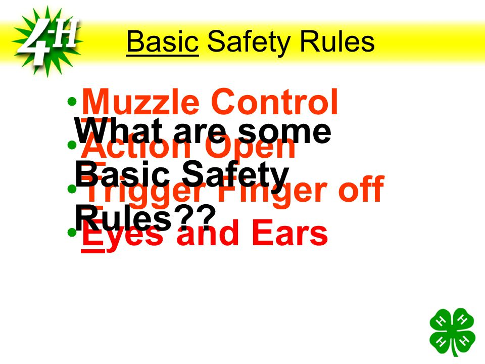 Basic Safety Rules Muzzle Control Action Open Trigger Finger off Eyes and Ears What are some Basic Safety Rules??