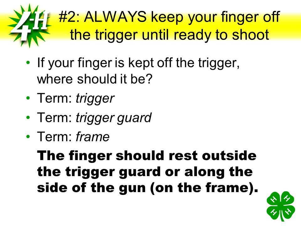 """#1: ALWAYS keep the gun pointed in a safe direction What do you think is meant by a """"safe direction""""? Term: safe direction Term: muzzle If the gun wer"""