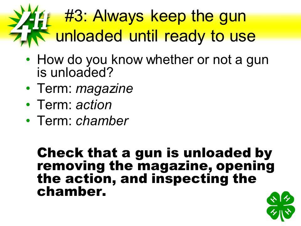 #2: ALWAYS keep your finger off the trigger until ready to shoot If your finger is kept off the trigger, where should it be? Term: trigger Term: trigg