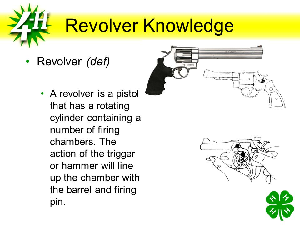 Revolver Knowledge Action (def) Group of moving parts used to load, fire and unload the pistol (Handbook Page 2) Trigger Activates the hammer when pulled Hammer Causes the firing pin to strike and fire the cartridge Trigger Hammer