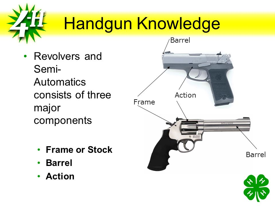 Revolver Knowledge Revolver (def) A revolver is a pistol that has a rotating cylinder containing a number of firing chambers. The action of the trigge