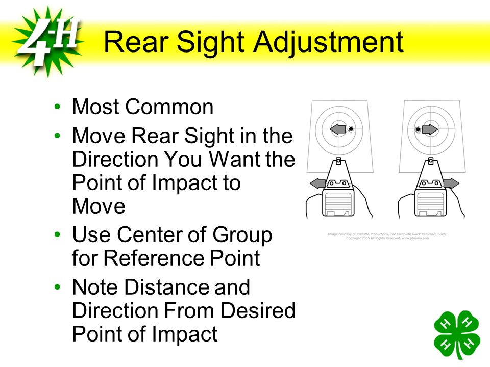 Sight Adjustment Objective Is to Match Point of Aim and Point of Impact Move Sights to Align With the Bore