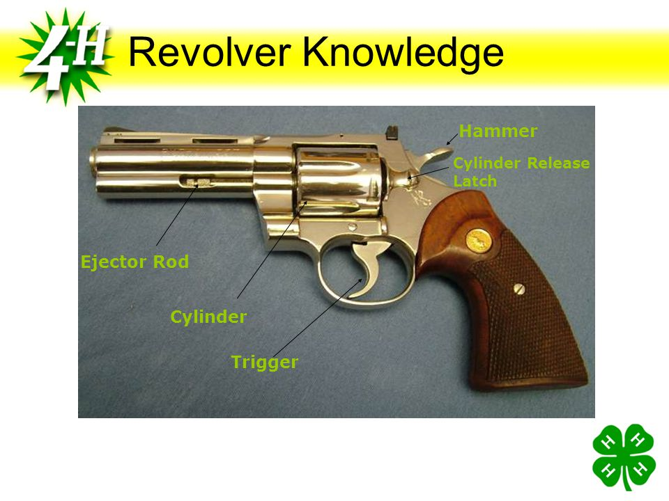 Revolver Knowledge Action (def) Group of moving parts used to load, fire and unload the pistol (Handbook Page 2) Trigger Activates the hammer when pul