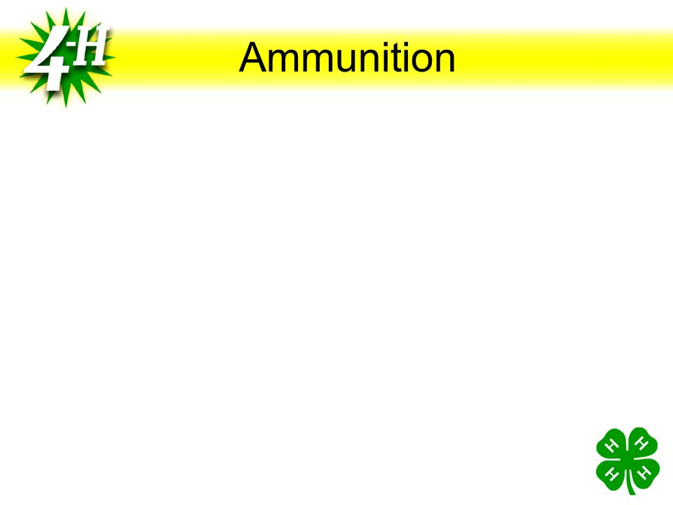 Center-fire Ammunition Numerous Calibers and Chamberings Varies With Intended Use Paper Target Shooting.38 Special (.357) 9 MM 10 MM.45 ACP Silhouette