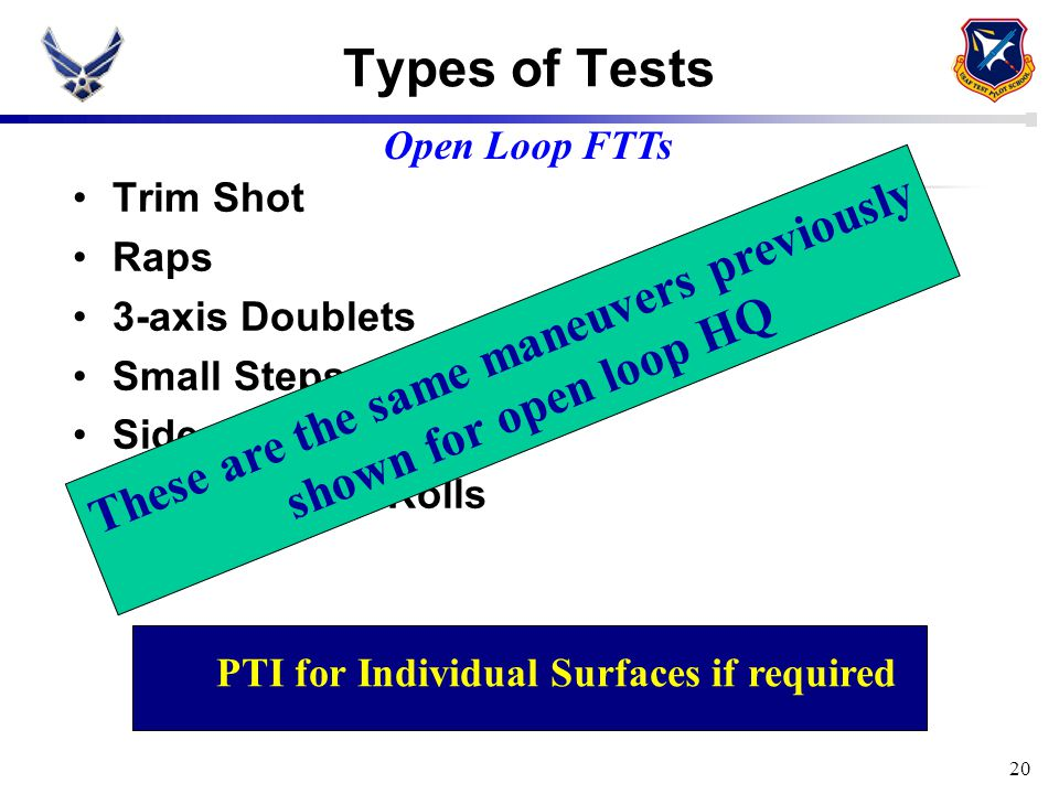 20 Types of Tests Trim Shot Raps 3-axis Doublets Small Steps Sideslips Bank-to-bank Rolls PTI for Individual Surfaces if required Open Loop FTTs These