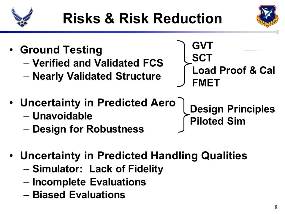 8 Risks & Risk Reduction Ground Testing –Verified and Validated FCS –Nearly Validated Structure Uncertainty in Predicted Aero –Unavoidable –Design for