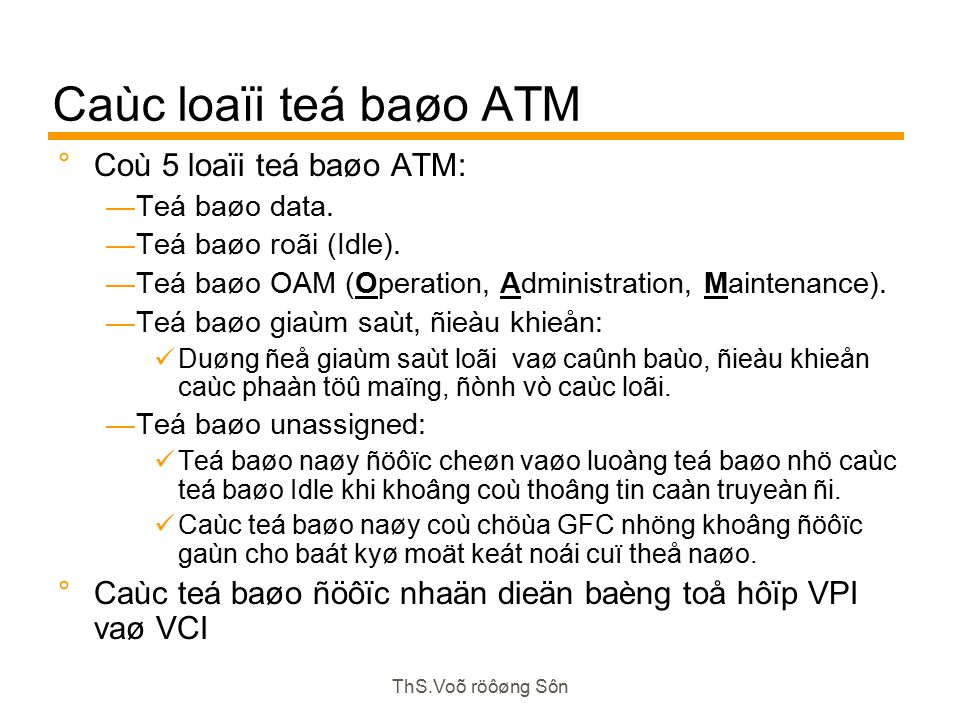 ThS.Voõ röôøng Sôn Caùc loaïi teá baøo ATM  Coù 5 loaïi teá baøo ATM: —Teá baøo data.