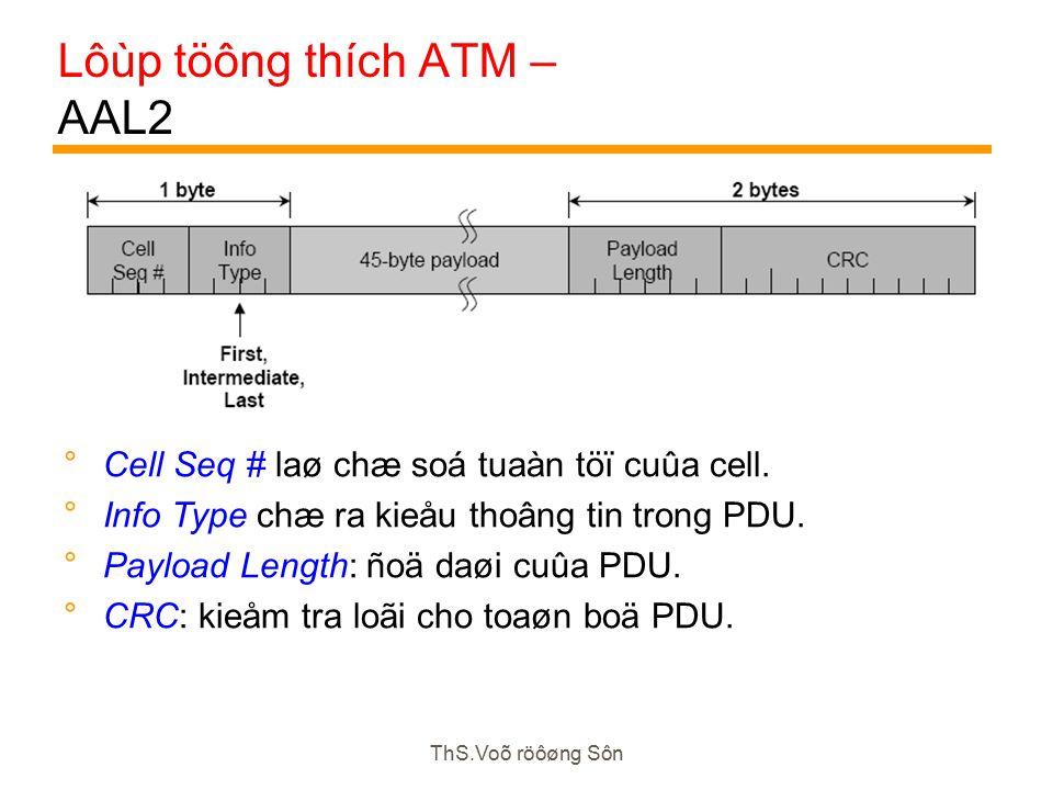 ThS.Voõ röôøng Sôn Lôùp töông thích ATM – AAL2  Cell Seq # laø chæ soá tuaàn töï cuûa cell.