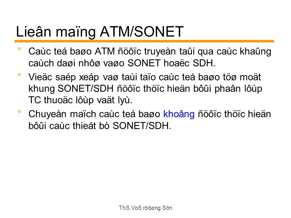 ThS.Voõ röôøng Sôn Lieân maïng ATM/SONET  Caùc teá baøo ATM ñöôïc truyeàn taûi qua caùc khaûng caùch daøi nhôø vaøo SONET hoaëc SDH.