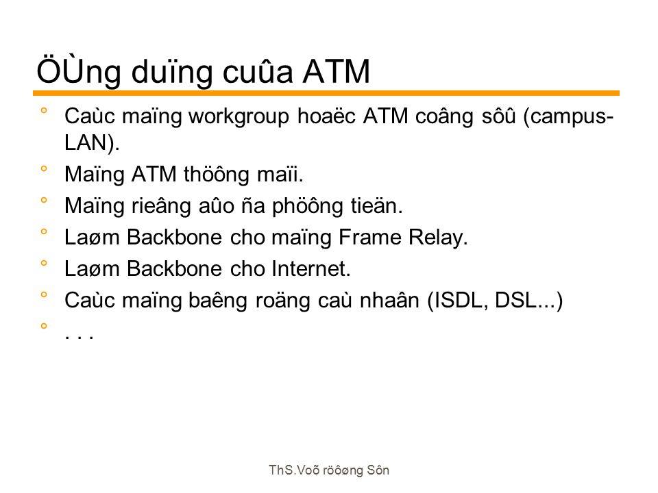 ThS.Voõ röôøng Sôn ÖÙng duïng cuûa ATM  Caùc maïng workgroup hoaëc ATM coâng sôû (campus- LAN).