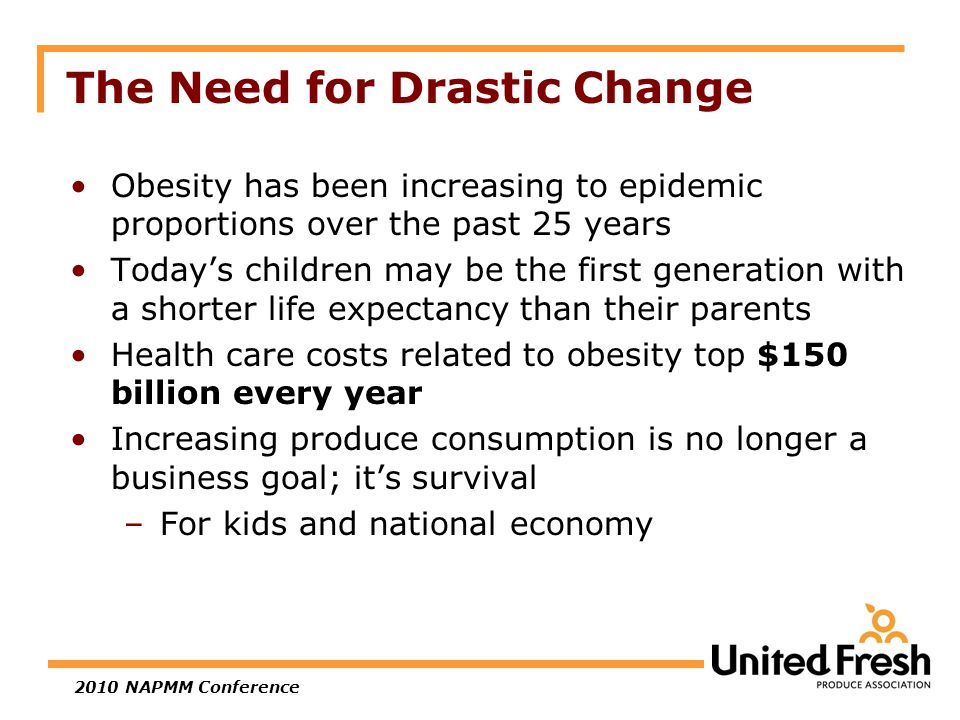 2010 NAPMM Conference The Need for Drastic Change Obesity has been increasing to epidemic proportions over the past 25 years Today's children may be the first generation with a shorter life expectancy than their parents Health care costs related to obesity top $150 billion every year Increasing produce consumption is no longer a business goal; it's survival –For kids and national economy