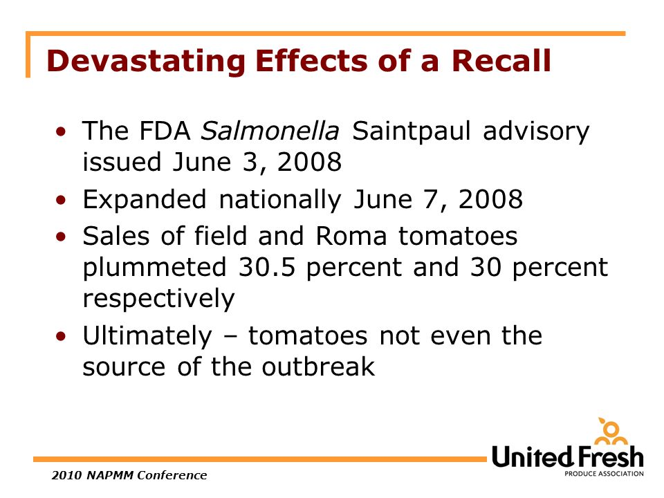 Devastating Effects of a Recall The FDA Salmonella Saintpaul advisory issued June 3, 2008 Expanded nationally June 7, 2008 Sales of field and Roma tomatoes plummeted 30.5 percent and 30 percent respectively Ultimately – tomatoes not even the source of the outbreak