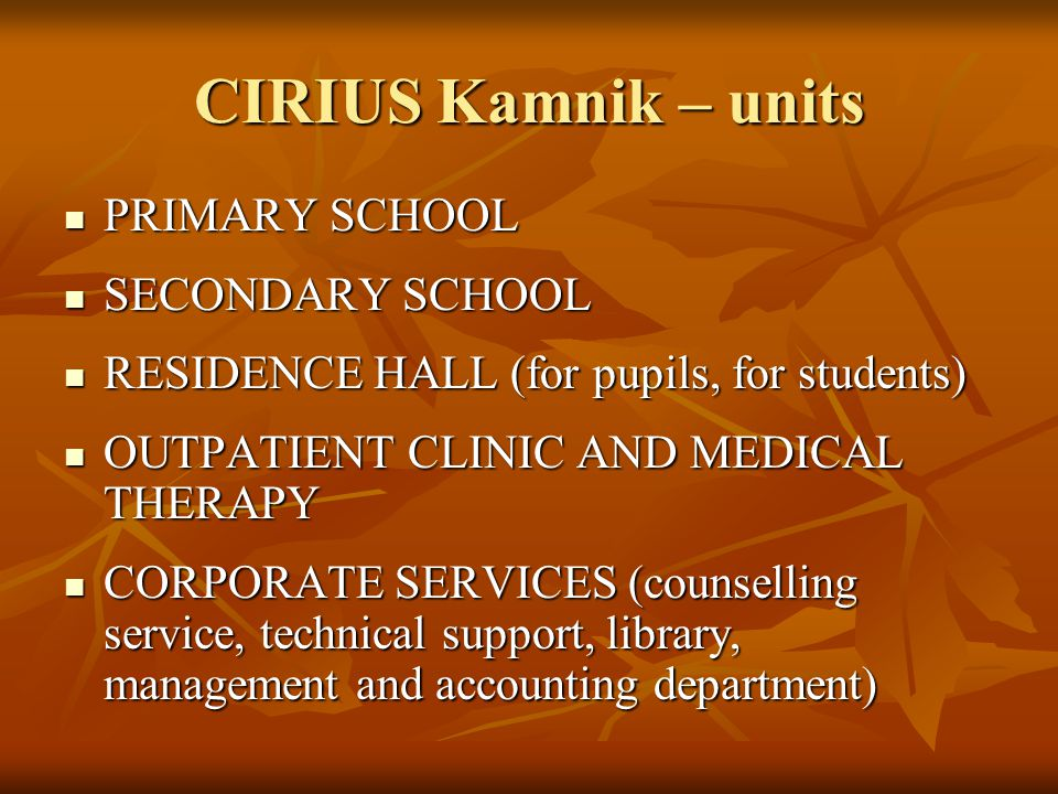CIRIUS Kamnik – units PRIMARY SCHOOL PRIMARY SCHOOL SECONDARY SCHOOL SECONDARY SCHOOL RESIDENCE HALL (for pupils, for students) RESIDENCE HALL (for pupils, for students) OUTPATIENT CLINIC AND MEDICAL THERAPY OUTPATIENT CLINIC AND MEDICAL THERAPY CORPORATE SERVICES (counselling service, technical support, library, management and accounting department) CORPORATE SERVICES (counselling service, technical support, library, management and accounting department)