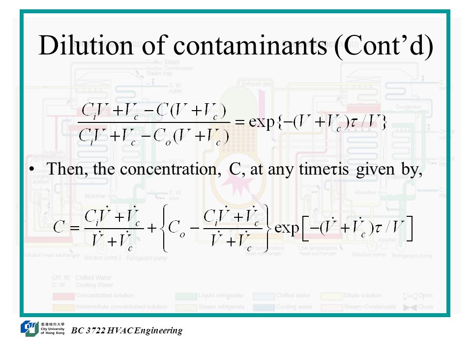 Then, the concentration, C, at any timeτis given by, BC 3722 HVAC Engineering Dilution of contaminants (Cont'd)