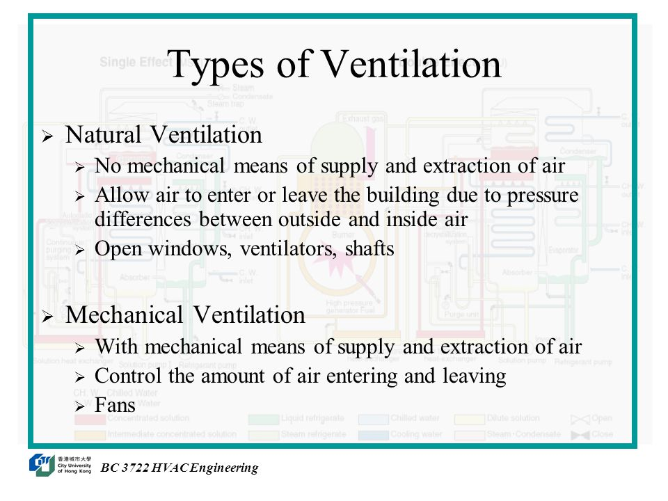 Types of Ventilation  Natural Ventilation  No mechanical means of supply and extraction of air  Allow air to enter or leave the building due to pressure differences between outside and inside air  Open windows, ventilators, shafts  Mechanical Ventilation  With mechanical means of supply and extraction of air  Control the amount of air entering and leaving  Fans BC 3722 HVAC Engineering