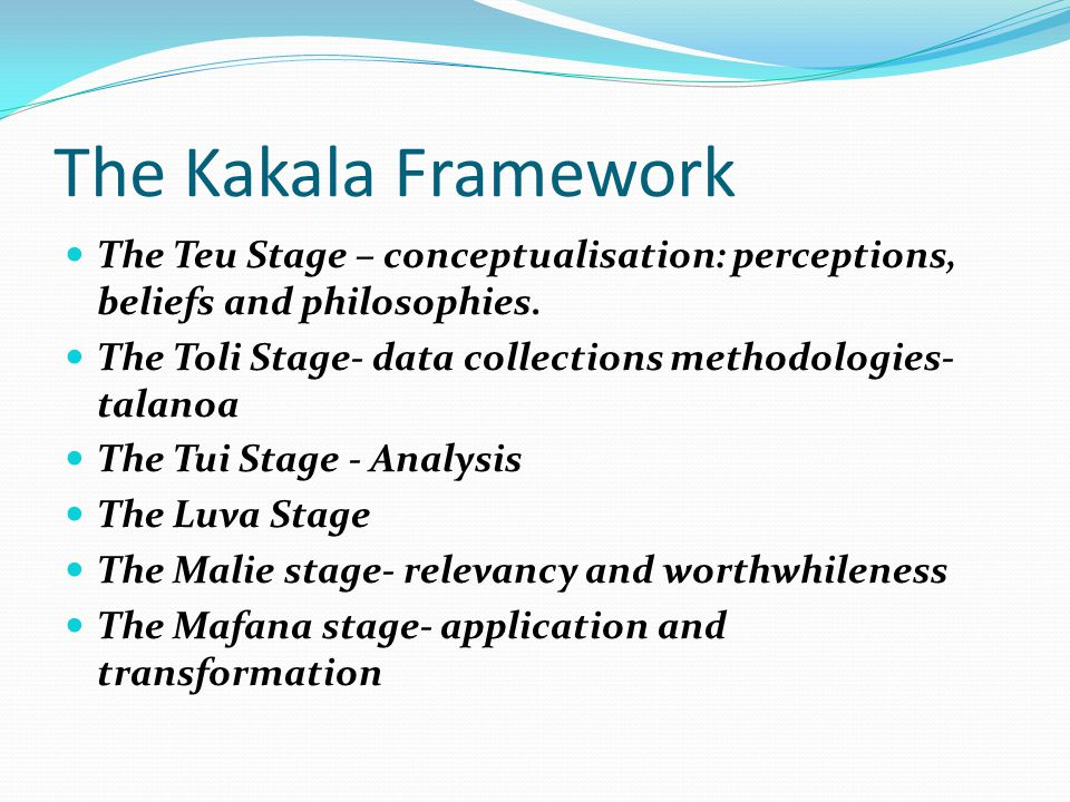 The Kakala Framework The Teu Stage – conceptualisation: perceptions, beliefs and philosophies.