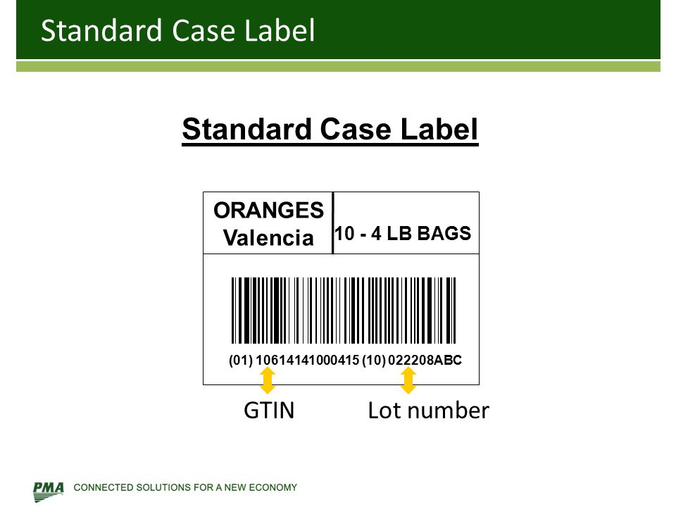 ORANGES Valencia 10 - 4 LB BAGS Standard Case Label (01) 10614141000415 (10) 022208ABC Standard Case Label GTINLot number