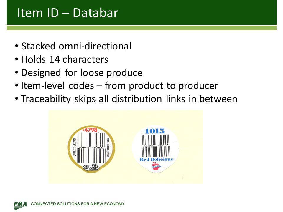 Item ID – Databar Stacked omni-directional Holds 14 characters Designed for loose produce Item-level codes – from product to producer Traceability ski