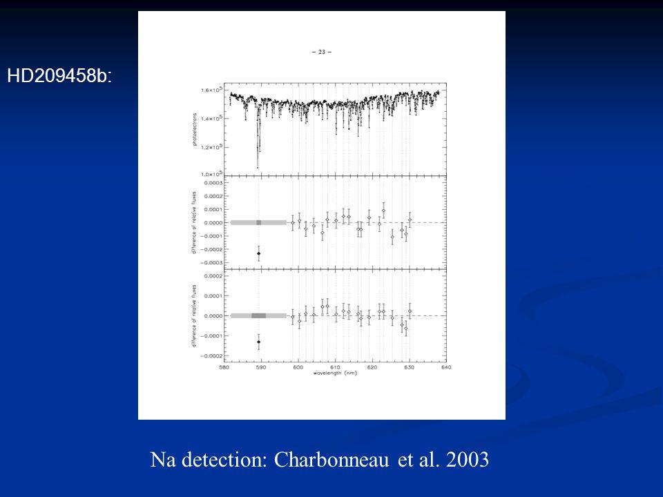 Na detection: Charbonneau et al. 2003 HD209458b:
