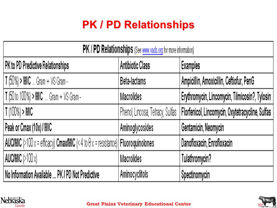 Great Plains Veterinary Educational Center PK / PD Relationships