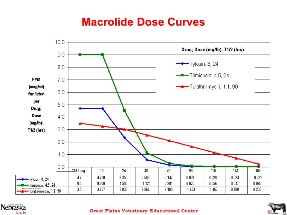 Great Plains Veterinary Educational Center Macrolide Dose Curves