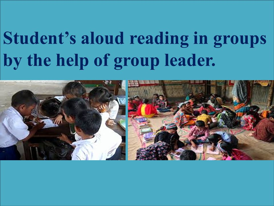 Student's aloud reading in groups by the help of group leader.