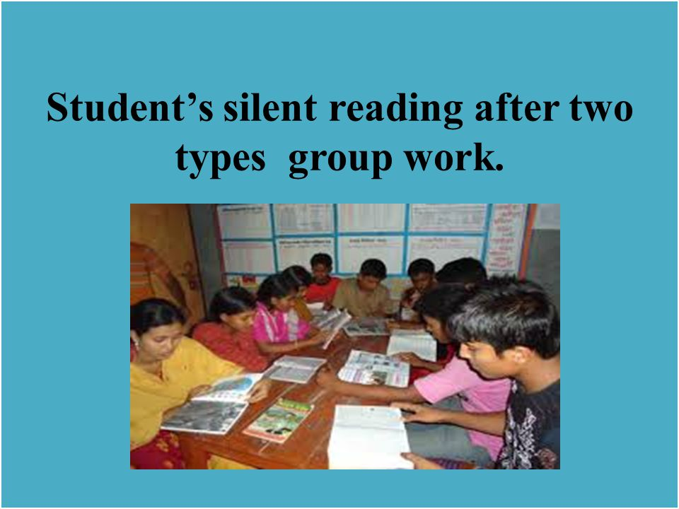 Student's silent reading after two types group work.