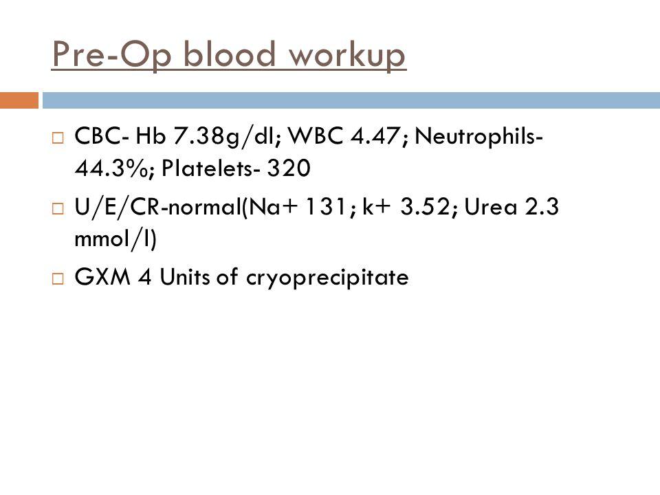 Pre-Op blood workup  CBC- Hb 7.38g/dl; WBC 4.47; Neutrophils- 44.3%; Platelets- 320  U/E/CR-normal(Na+ 131; k+ 3.52; Urea 2.3 mmol/l)  GXM 4 Units