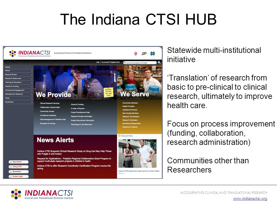 ACCELERATING CLINICAL AND TRANSLATIONAL RESEARCH www.indianactsi.org Indiana CTSI HUB Foundations The Usual HUB capabilities… Modular 'Model View Controller' Architecture Built in publishing tools, etc.