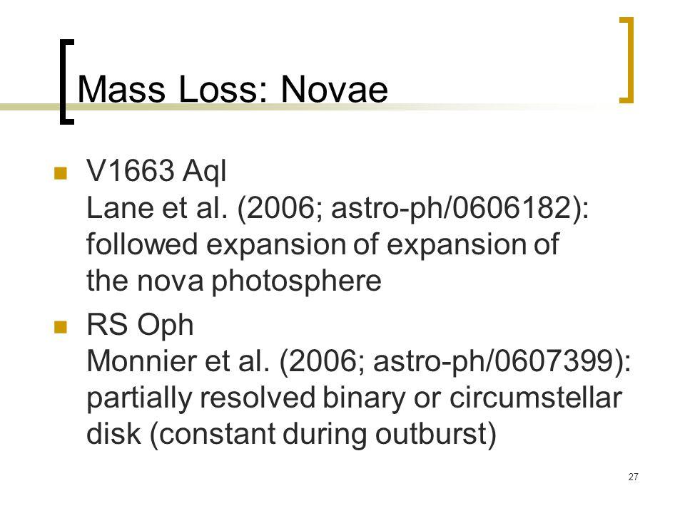 27 Mass Loss: Novae V1663 Aql Lane et al.