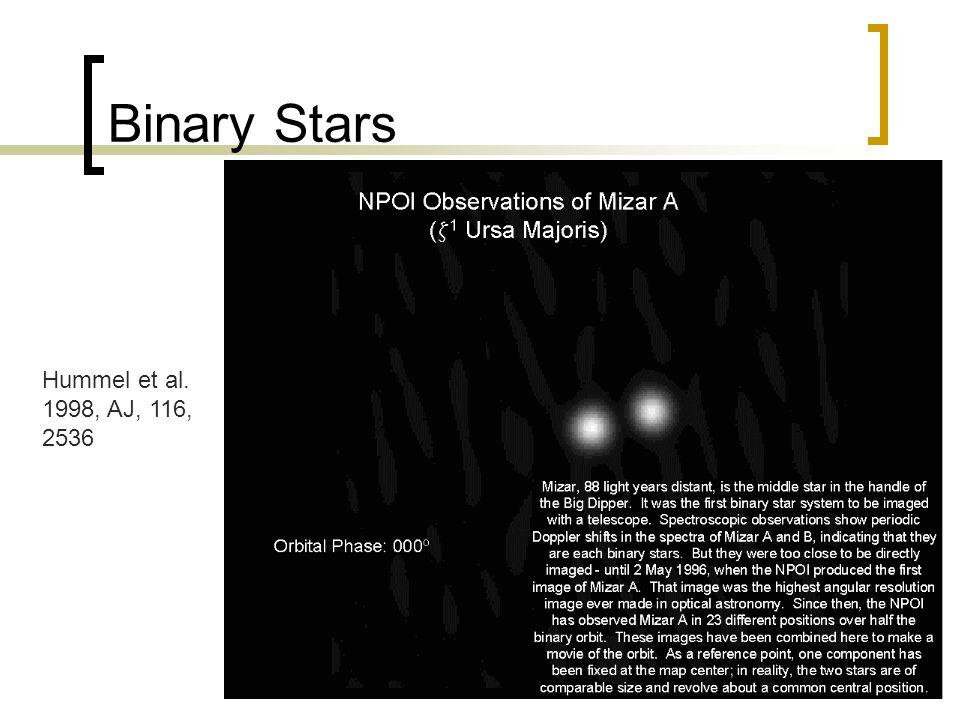 29 Binary Stars Hummel et al. 1998, AJ, 116, 2536