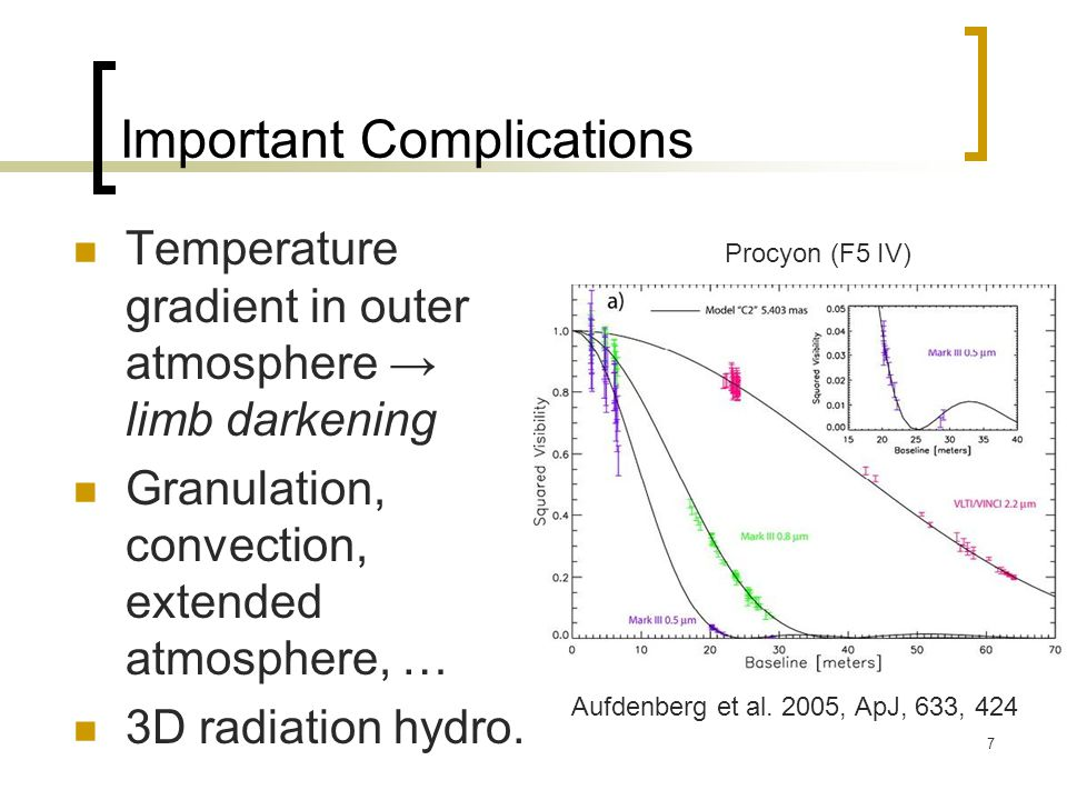 7 Important Complications Temperature gradient in outer atmosphere → limb darkening Granulation, convection, extended atmosphere, … 3D radiation hydro.