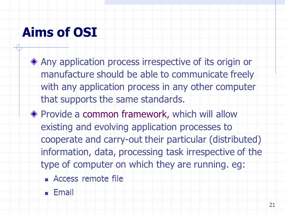 21 Aims of OSI Any application process irrespective of its origin or manufacture should be able to communicate freely with any application process in any other computer that supports the same standards.